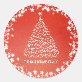 Sticker Rond Le blanc moderne d'arbre de Noël tient le premier