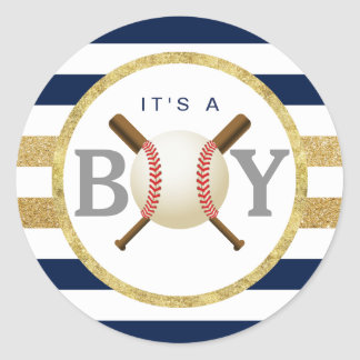 Sticker Rond Le bleu marine de garçon de base-ball barre la