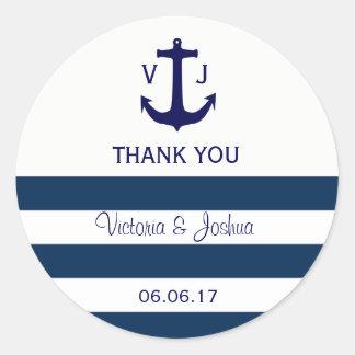 Sticker Rond Le bleu marine nautique fait sur commande barre le