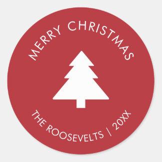 Sticker Rond Le cadeau moderne d'arbre de Noël marque le joint
