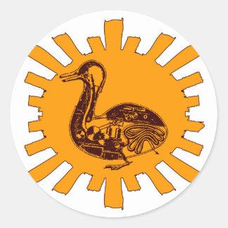 Sticker Rond Le canard de Vaucanson