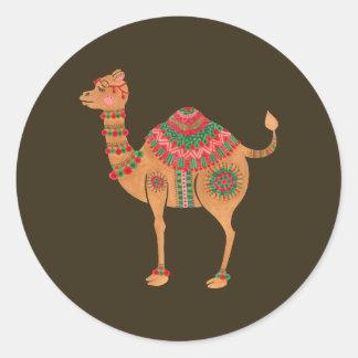 Sticker Rond Le chameau ethnique