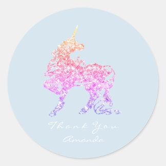 Sticker Rond Le cheval d'Ombre de rose rose de licorne tient le