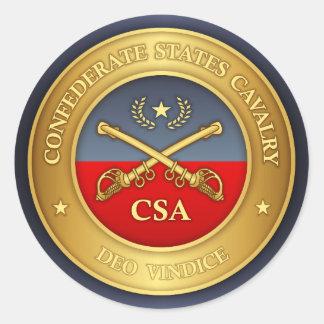 Sticker Rond Le confédéré énonce la cavalerie (les rd)