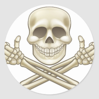 Sticker Rond Le crâne de bande dessinée et le pirate d'os