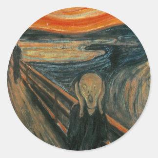 Sticker Rond Le cri perçant par Edvard Munch