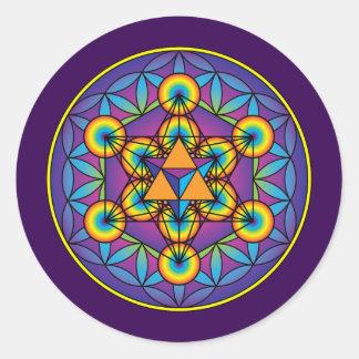Sticker Rond Le cube Merkaba de Metatron sur la fleur de la vie