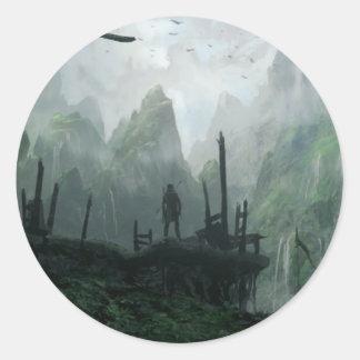 Sticker Rond Le dernier guerrier du clan de montagne