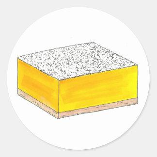 Sticker Rond Le dessert de pâtisserie de barre carrée de citron
