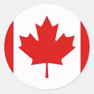 Sticker Rond Le drapeau de feuille d'érable du Canada