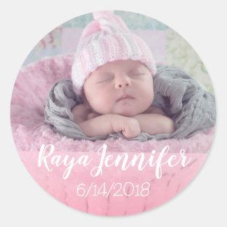 Sticker Rond Le faire-part de naissance de bébé a personnalisé