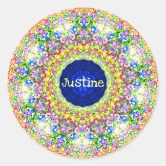 Sticker Rond Le ~ floral doux de motif de ~ a personnalisé le ~