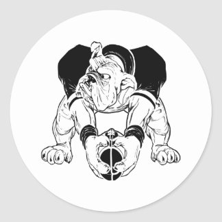 Sticker Rond Le football de bouledogue