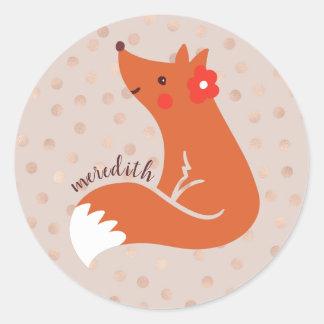 Sticker Rond Le Fox mignon avec la fleur/rougissent arrière -