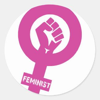 Sticker Rond Le genre féministe redresse le symbole