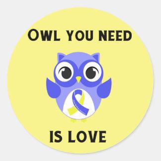 Sticker Rond Le hibou que vous avez besoin est amour,