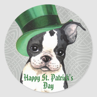 Sticker Rond Le jour Boston Terrier de St Patrick