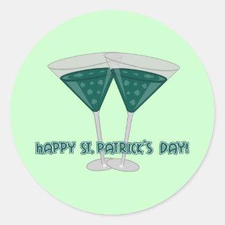 Sticker Rond Le jour de St Patrick heureux - Shamrocktini II