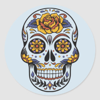 Sticker Rond Le jour des morts a peint le crâne avec les