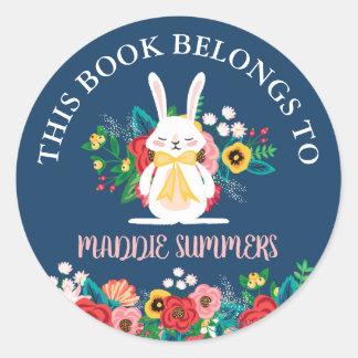 Sticker Rond Le lapin | de Boho floral ce livre appartient à