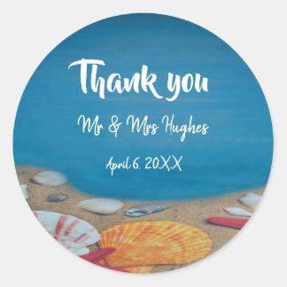 Sticker Rond Le mariage de plage nautique vous remercient