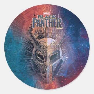 Sticker Rond Le masque tribal noir de la panthère | a recouvert