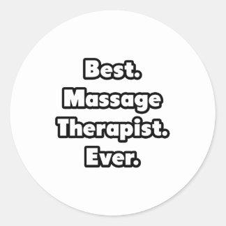 Sticker Rond Le meilleur. Thérapeute de massage. Jamais