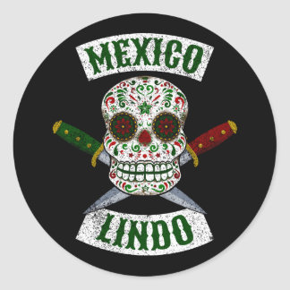Sticker Rond Le Mexique Lindo. Crâne mexicain avec des