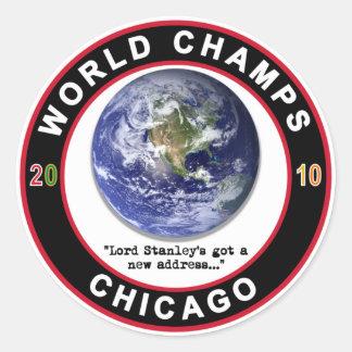Sticker Rond Le monde de Chicago mâche le hockey sur glace de