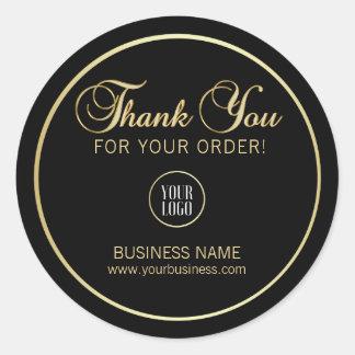 Sticker Rond Le noir d'entreprise | d'or de Merci d'affaires