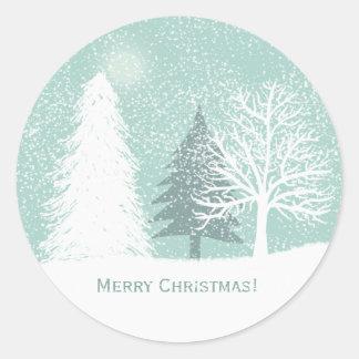 Sticker Rond Le pays des merveilles d'hiver, Noël de pins de