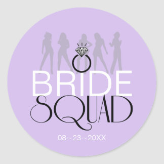 Sticker Rond Le peloton de jeune mariée silhouette le noir sur