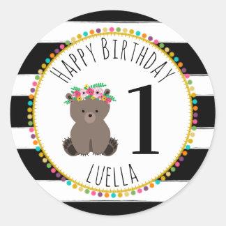 Sticker Rond Le pompon de CUB d'ours barre l'anniversaire