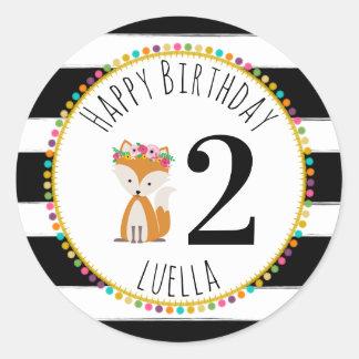 Sticker Rond Le pompon de Fox barre l'anniversaire