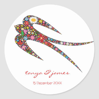 Sticker Rond Le ressort d'oiseau d'hirondelle fleurit