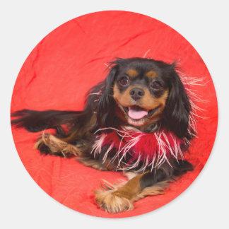 Sticker Rond Le Roi cavalier noir et bronzage Charles In Red