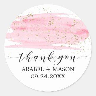 Sticker Rond Le rose d'aquarelle rougissent et la faveur de