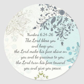 Sticker Rond Le seigneur Bless You, vers de bible de 6h24 de