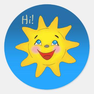 Sticker Rond Le soleil heureux