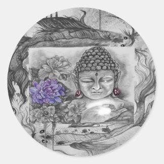 Sticker Rond Le souhait de Bouddha