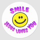 Sticker Rond Le sourire, Jésus vous aime