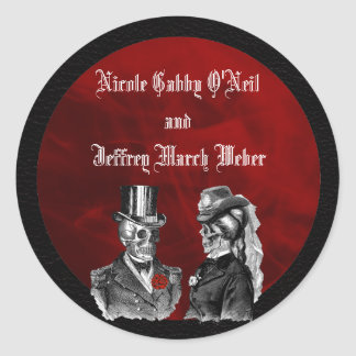 Sticker Rond Le ` squelettique de crânes de mariage jusqu'à la