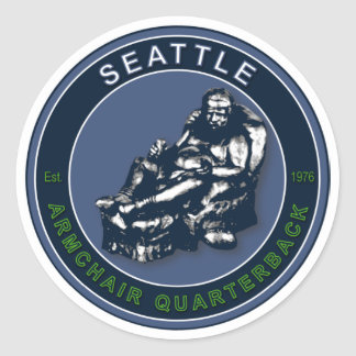 Sticker Rond Le stratège de fauteuil - le football de Seattle