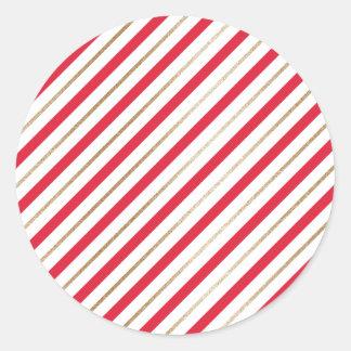 Sticker Rond Le sucre de canne de Noël barre le