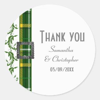 Sticker Rond Le tartan vert vous remercient
