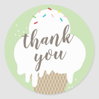 Sticker Rond Le vert de cornet de crème glacée vous remercient