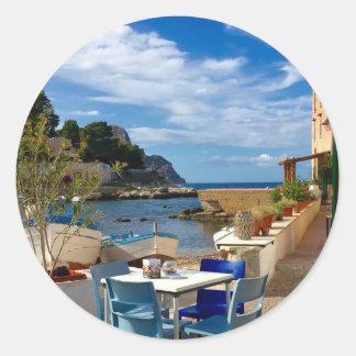 Sticker Rond Le village de pêche sicilien