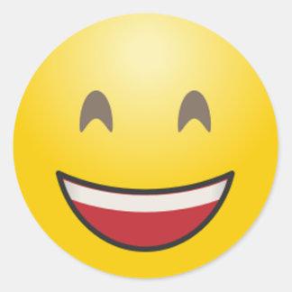 Sticker Rond Le visage de sourire d'Emoji avec la bouche