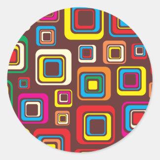 Sticker Rond Les années 70 carrés super de motif de tuile sur