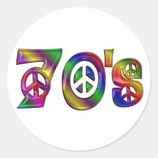 Sticker Rond Les années 70 colorées
